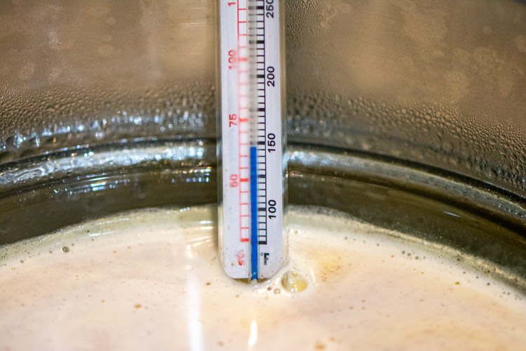Keep the Instant Pot on saute until the eggnog in the pyrex reaches 160 degrees