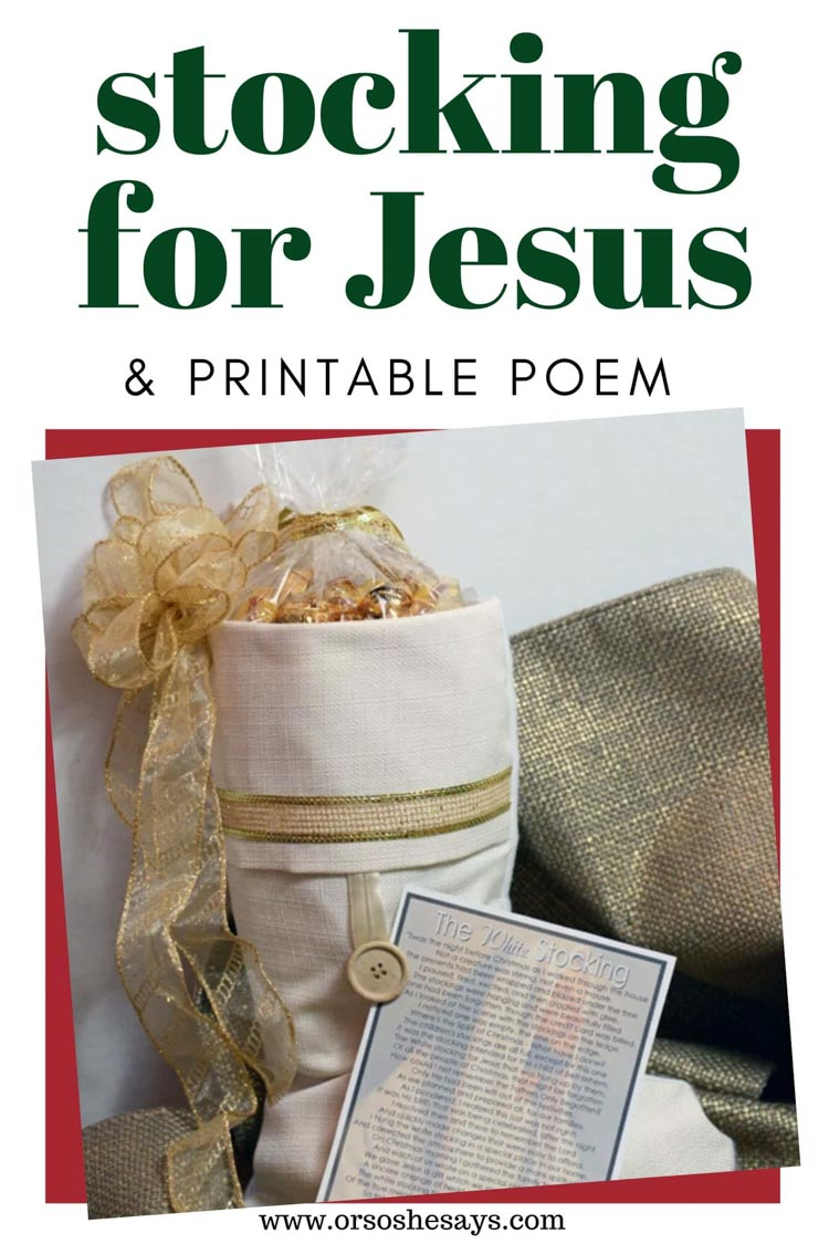 stocking for jesus printable story in front of a white stocking.