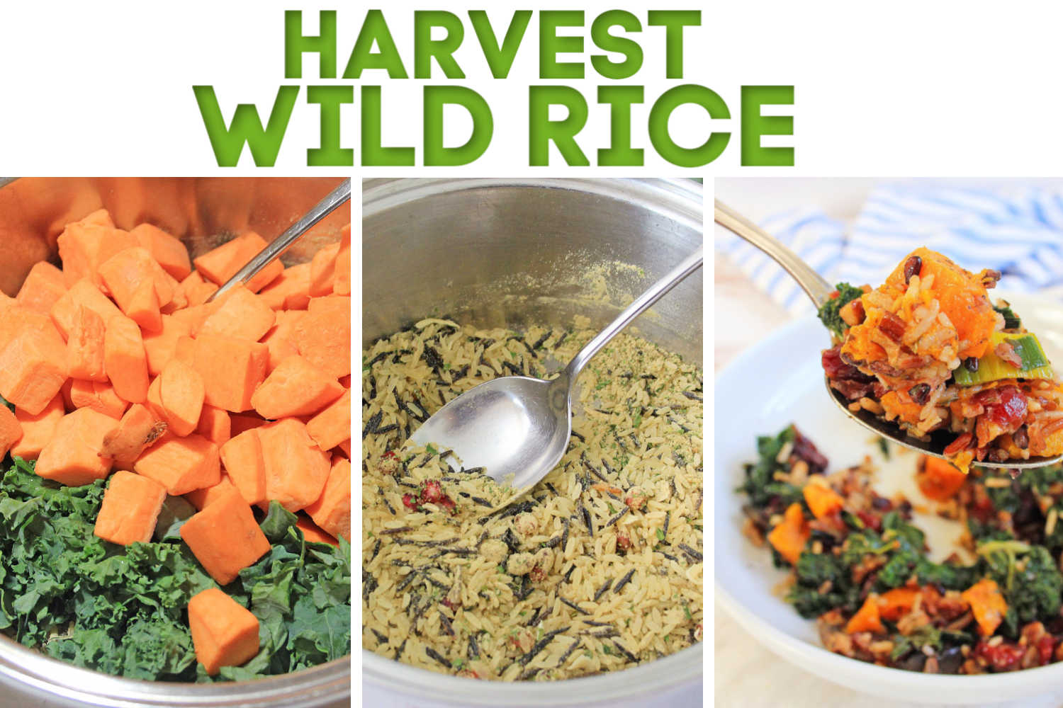 compilation image of three process shots showing how the harvest wild rice recipe is made