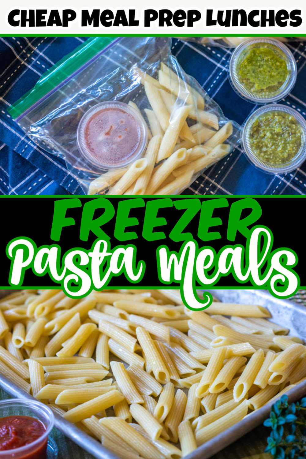 Save a TON of Money and Time by making these make-ahead freezer pasta meals. Use different containers for sauces and reheat them at work for a healthy homemade lunch that costs less than $0.25 to make. Insanely inexpensive meal prep! #pasta #freezermeal #frugal
