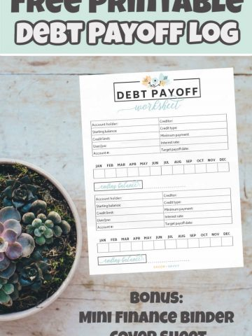 Debt Payoff Log Free Printable on a vertical image
