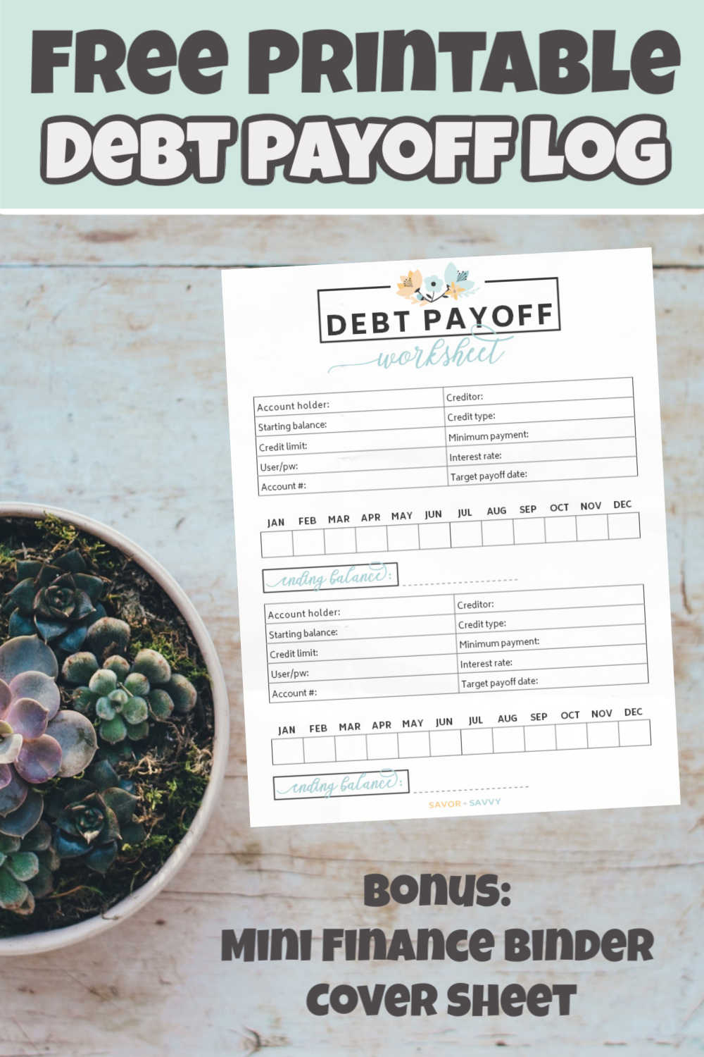 Free Debt Payoff Printable - Worksheet Tool With Tips to Pay Off Debt