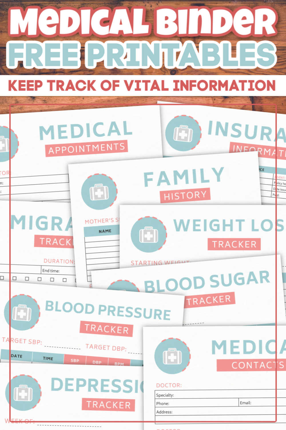 Download this completely free printable medical binder with more than a dozen worksheets that help track everything from symptoms to family history and key medical contacts. #medicalbinder #printables