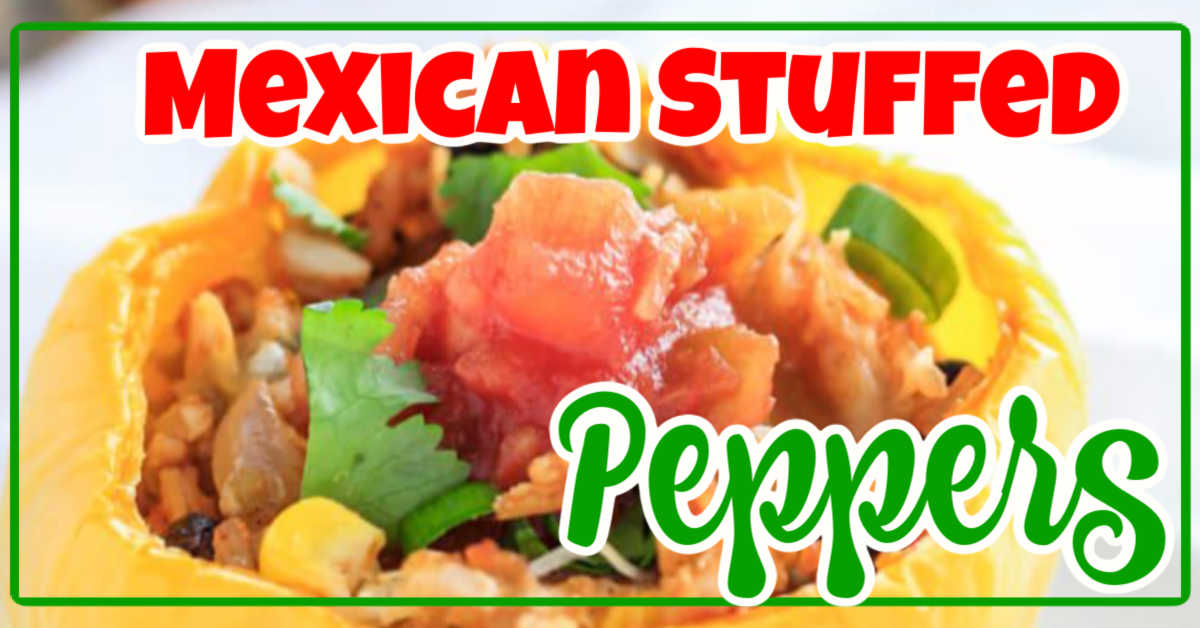 Closeup of a mexican stuffed pepper topped with cilantro and salsa and a text overlay