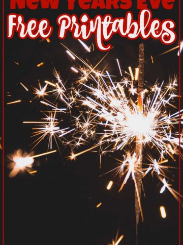 Fireworks in the dark with a text overlay for new years eve printables