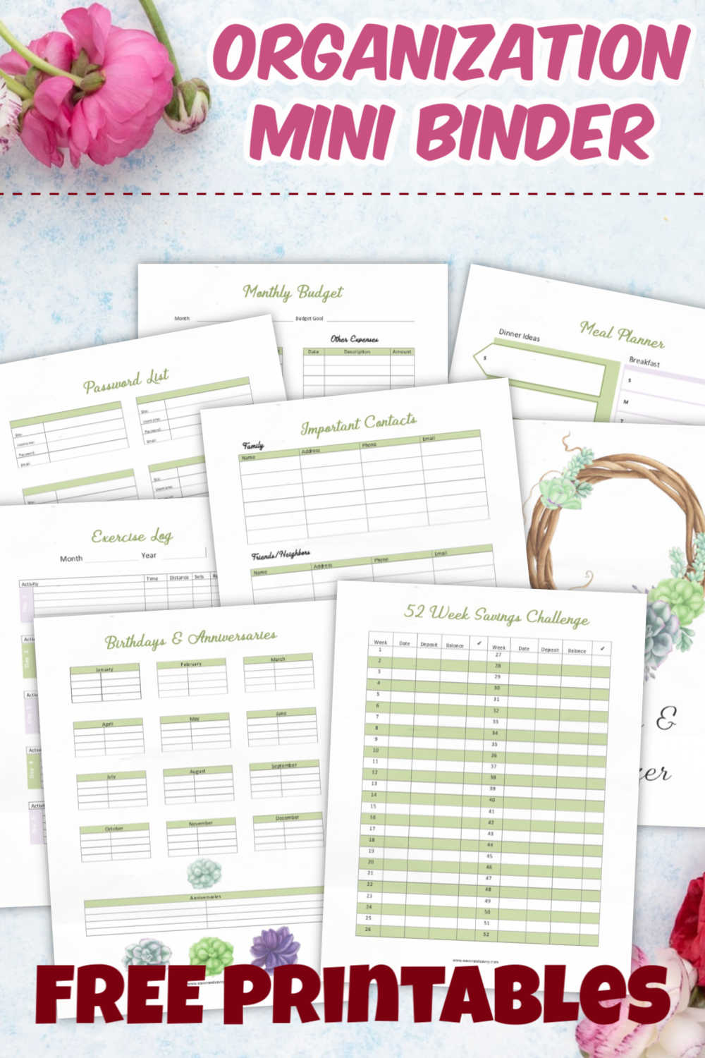 Free Printable pages to help you organize your life! These are the printables that will save you time and hassle. Don\'t forget important dates, and spend less time grocery shopping with well thought out plans! #printables #organization #binders