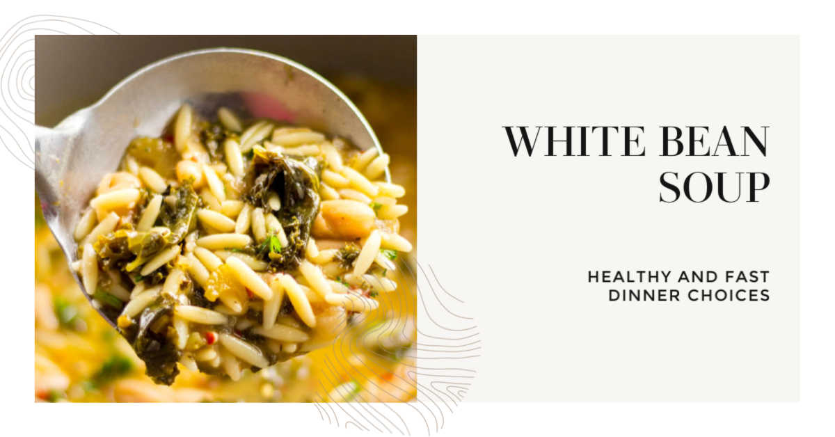 Ladle with white bean and orzo soup