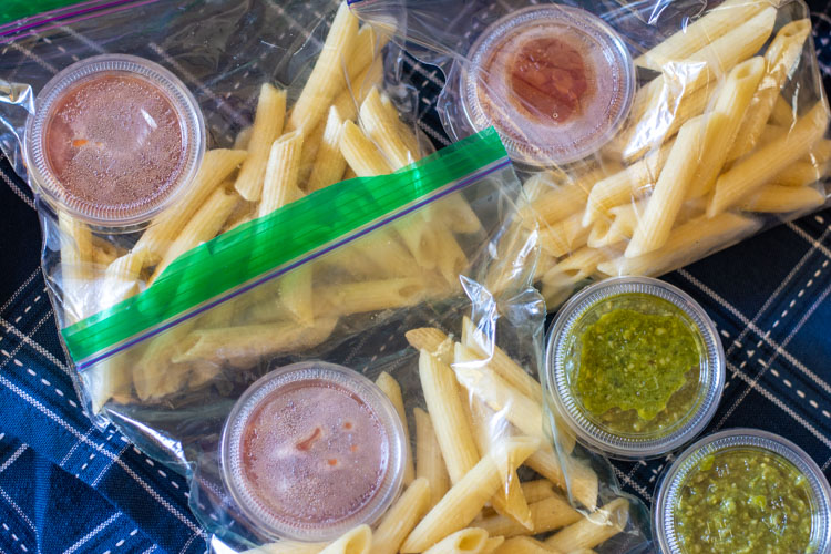 Frozen Pasta Lunch Bags with Choices of pesto or tomato sauces