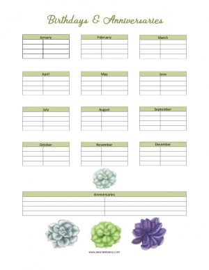 Birthdays and Anniversaries List Printable