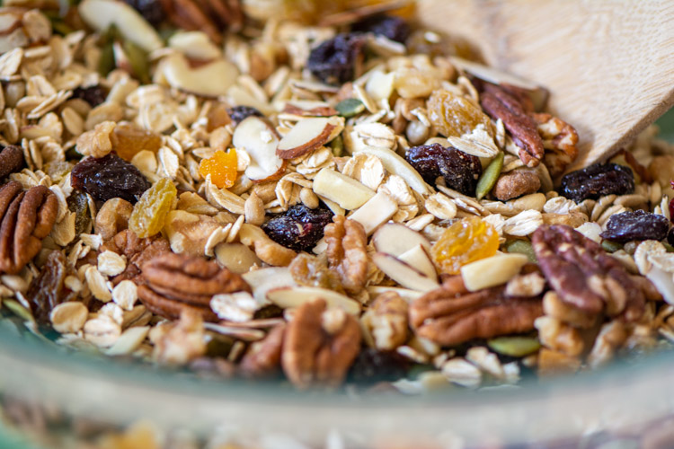 closeup of the seeds and nuts in a glass bowl.