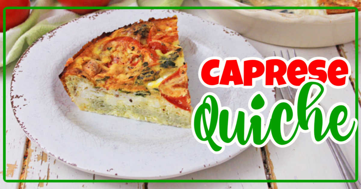 Simple Crustless Caprese Quiche Slice