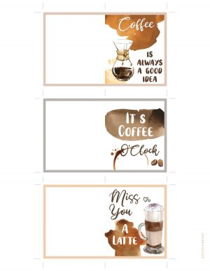 Three coffee themed blank notecards to print