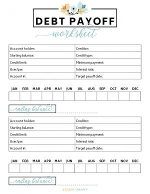 debt payoff worksheet with account information, interest rates, and balances by month