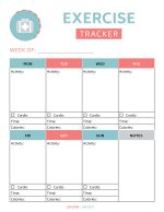 Cute Free Printable Exercise Tracker in salmon and blue colors