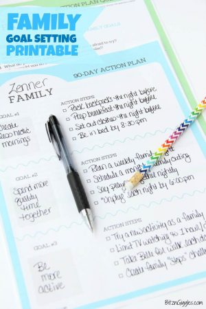 Family Goal Setting Printables