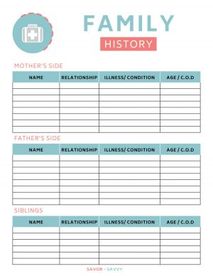 Family History Printable for reference in the medical binder
