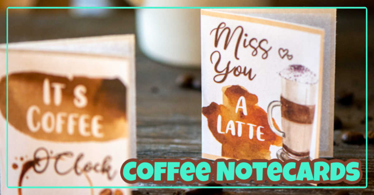 Free coffee notecard printable. small version printed and standing up in front of a coffee cup