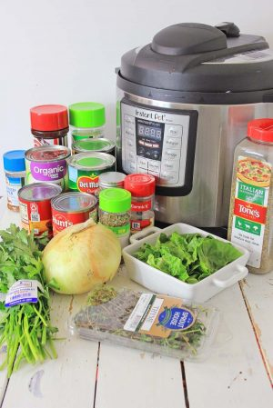 Instant pot and the ingredients to make the Florentine soup