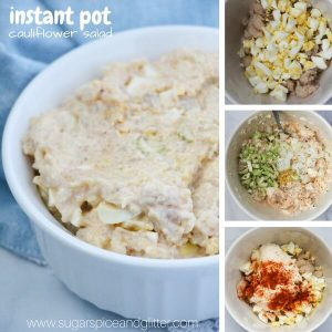 easy cauliflower salad with four process shots as it is made in an instant pot