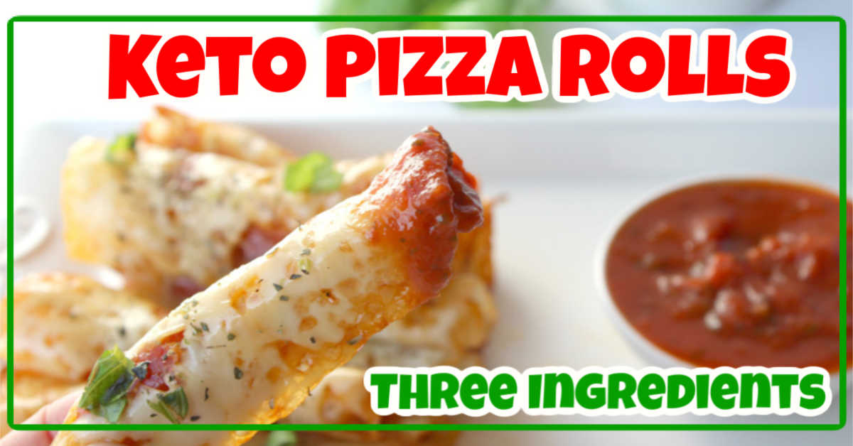 pizza roll dipped in a keto marinara sauces with a text overlay