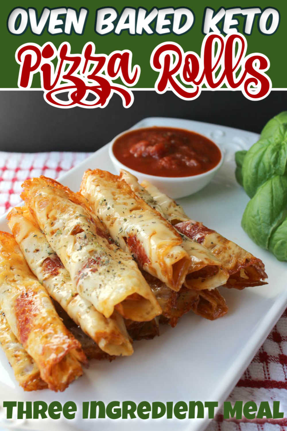 Fresh baked keto-friendly pizza rolls only use three ingredients but taste like a million bucks! It is super easy to bake these slices of mozzarella cheese and topped with pizza toppings! No need to fall off your diet during game day party snacks! #keto #pizzarolls #gameday