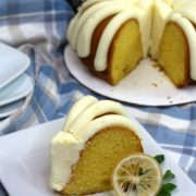 cake with frosting and lemons