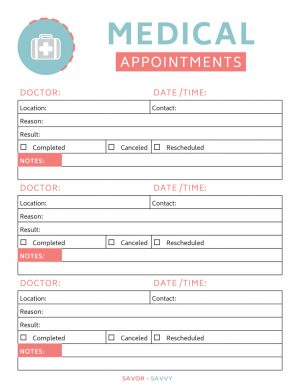keep track of medical appointments with this printable