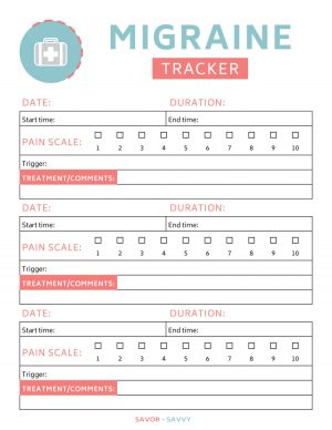 migraine tracker worksheet