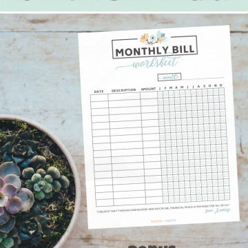 monthly bill tracker free printable on a vertical image with text overlay