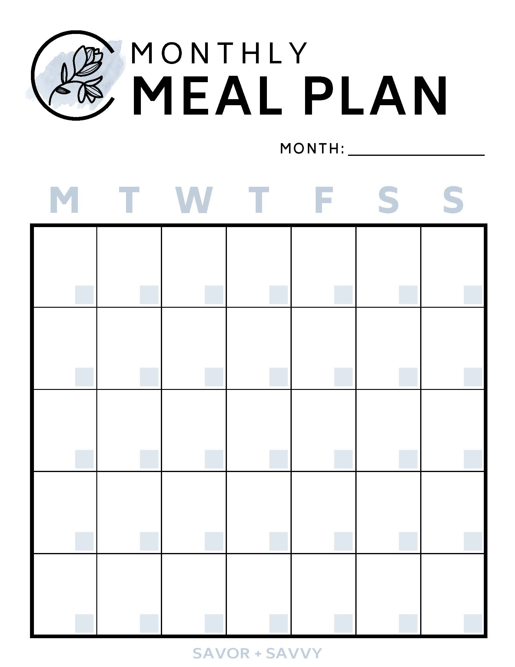 Monthly Free Printable Meal Plan