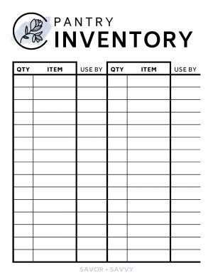 Printable Inventory Template from savorandsavvy.com
