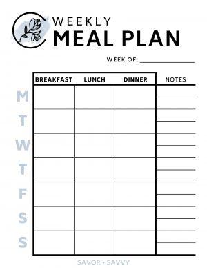 Weekly Meal Plan Printable Worksheet