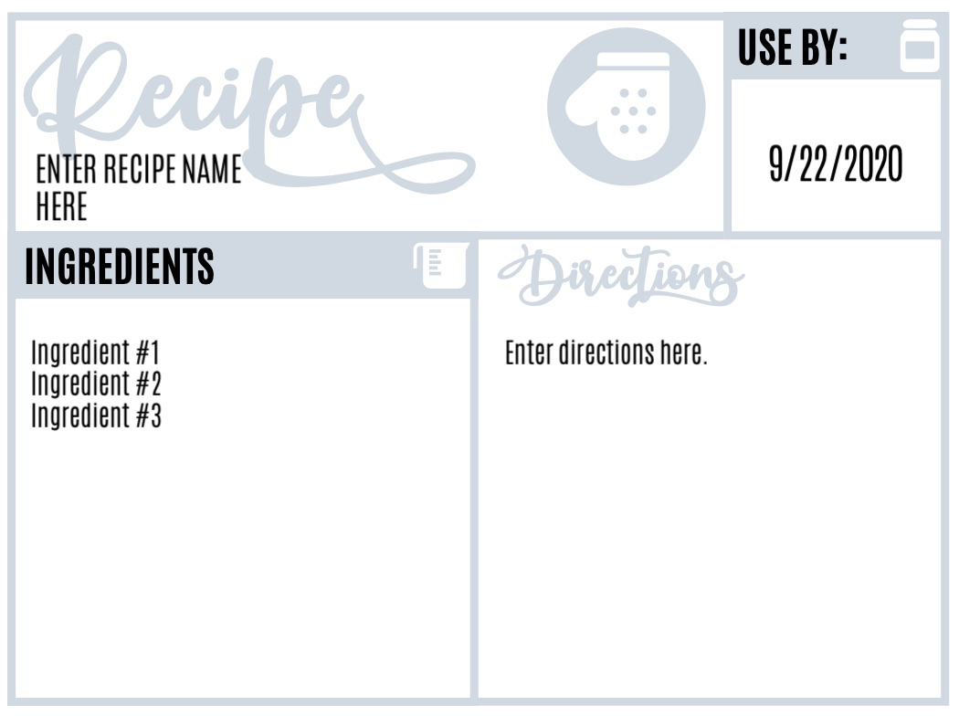 Blank Editable Freezer Label with same items filled out