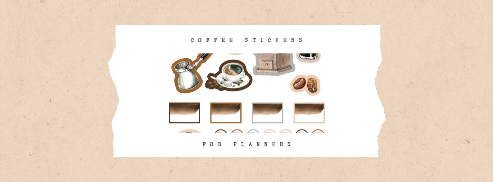 coffee stickers for planners on a tan background