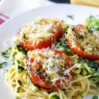 Baked Tomatoes Parmesan with Basil-Zucchini Pasta • Food, Folks and Fun