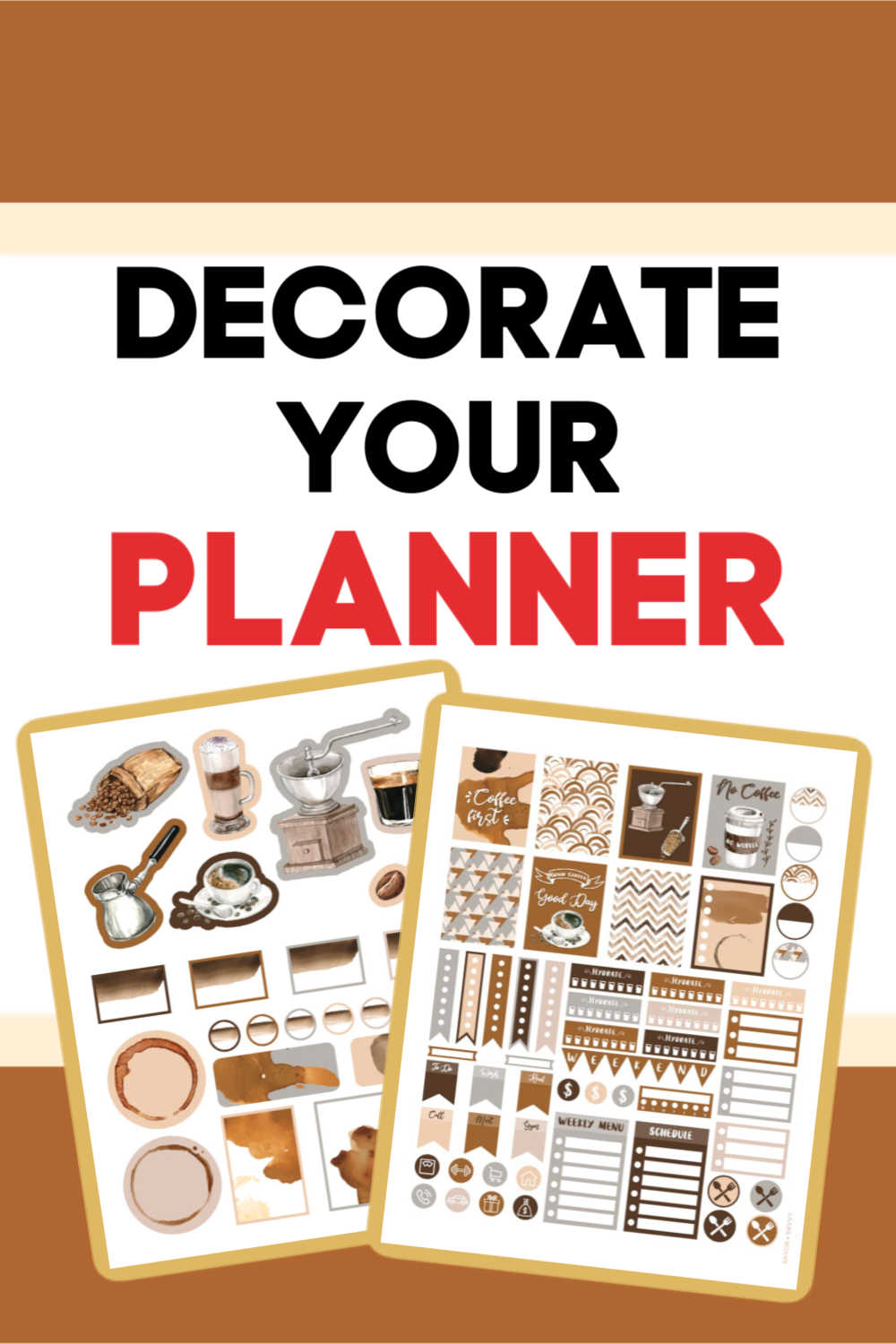 FREE Decorative Coffee Stickers For Your Planner