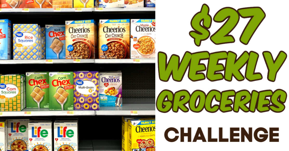 Shelf of cereal with a $27 weekly grocery challenge
