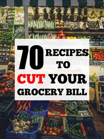 produce aisle in the grocery store with text overlay for 70 recipes that will cut your grocery bill