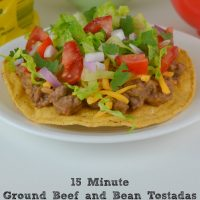 15 Minute Ground Beef and Bean Tostadas Recipe