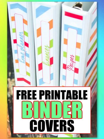 Three colorful binder covers standing up with a text box that reads the same