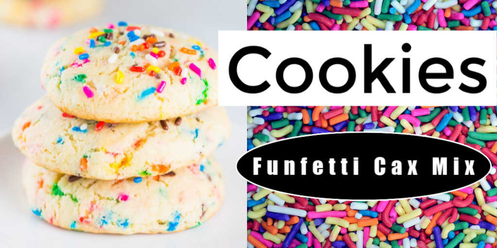 funfetti cookies and a background of colorful sprinkles with text overlay