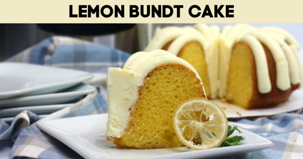 Slice of lemon bundt cake with text overlay