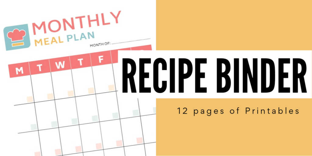 Recipe Binder Organization printable with 12 pages of printables and an example of one page