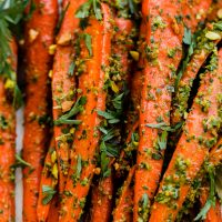 Roasted Carrots With Pistachio Carrot Top Pesto