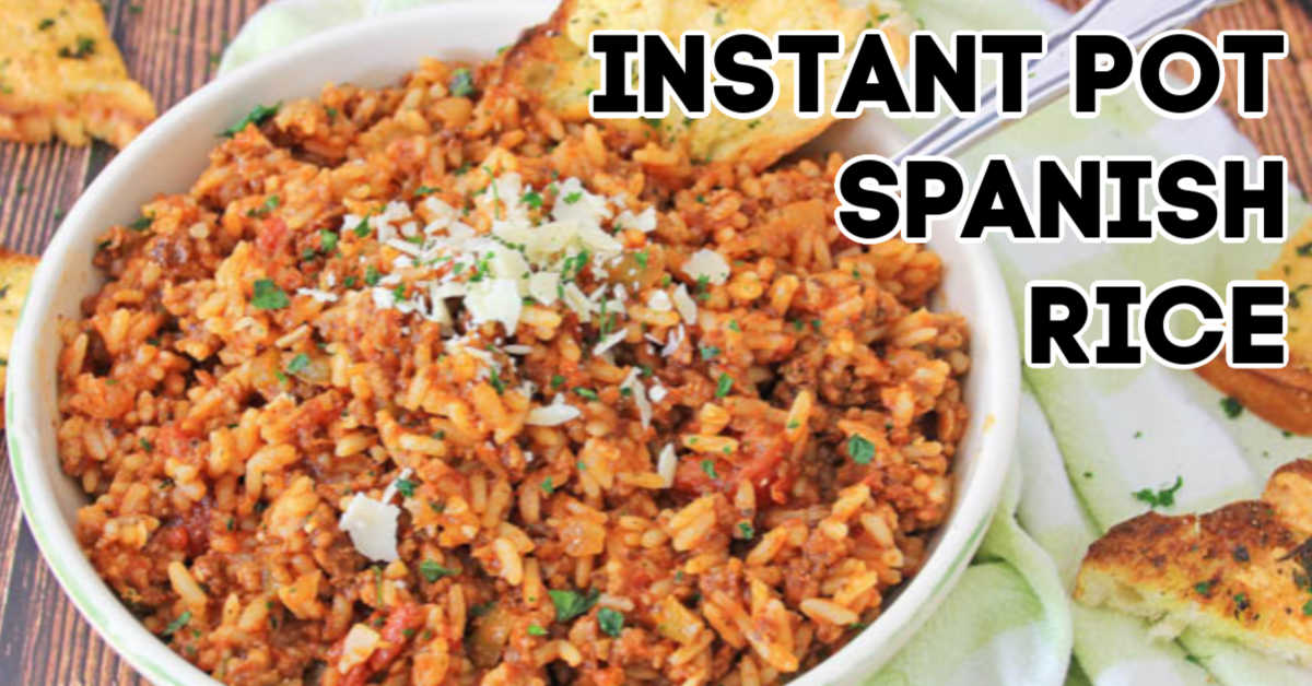 bowl of instant pot spanish rice and text overlay