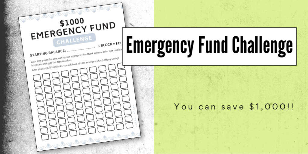 $1000 emergency fund challenge and the printable to help track