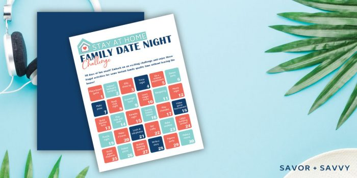 family date night printable on a decorative background