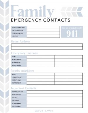 Family Emergency Contacts Printable with sections for police, hospital, poison control and other emergency contacts