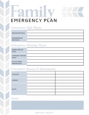 Free printable sheet for the family emergency plan including locations for safe places, evacuation routes and meeting places