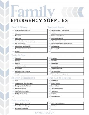 family emergency supplies printable with sections filled out for commonly needed items during an emergency